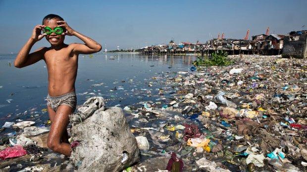 Swimming in trash